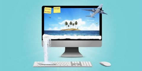 vacation-plain-beach-computer-tourism-travel-traveling-hawai-planning-presentation-template
